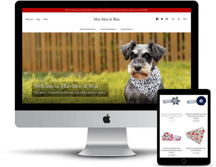 Moo Moo and Bear Shopify pet store design